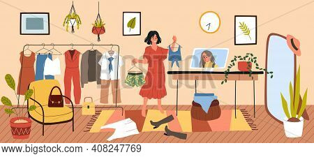 Personal Stylist. Cartoon Woman Tries Clothes With Online Fashion Consultant. Image Maker Gives Reco