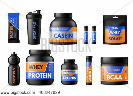 Sport Nutrition Labels. Bodybuilders Food Supplements, Plastic Packages With Whey Protein And Creati