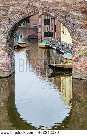 Ancient City Wall And Entrance To The City Center Of Zutphen, A Medieval City Along The River Ijssel