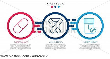 Set Line Medicine Pill Or Tablet, Awareness Ribbon And Medicine Bottle And Pills. Business Infograph