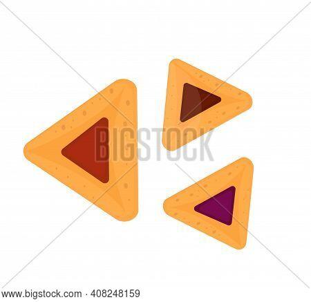 Realistic Vector Hamantaschen Cookies For Jewish Festival Of Purim.