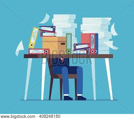 Accounting Documents Piles. Unorganized Office Work Concept. Cartoon Man Sitting At Table With Heaps
