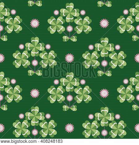 Lucky Charm, Four-leaf Clover, Seamless Vector Illustration