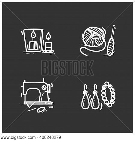 Craft Hobby Set Glyph Icons. Handmade And Homemade Concept. Consist Of Handmade Accessories, Sewing,