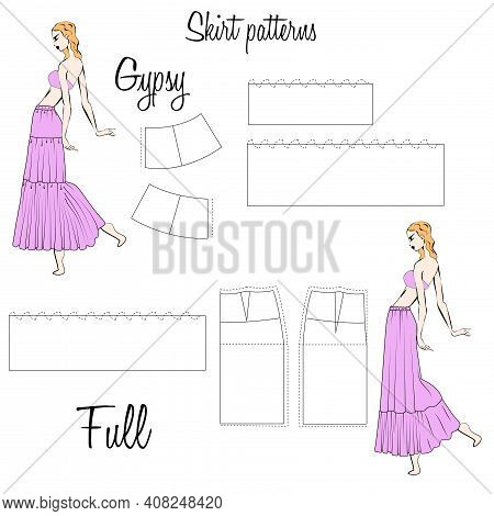 Skirt Gypsy And Full Patterns. A Visual Representation Of Styles Of The Skirts On The Figure. Illust