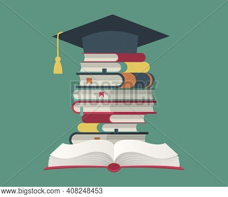 Graduation Cap On Book Stack. Huge Pile Of Books And Encyclopedias, Education And Success Concept, U