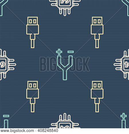 Set Line Processor With Microcircuits Cpu, Usb Cable Cord And Electric Cable On Seamless Pattern. Ve