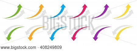 Curved Arrow Up And Down. Colored Arrow With Shadow. Collection Curved Arrows In Flat Style. Vector