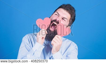 Feeling Love. Dating And Relations Concept. Happy In Love. Making Man Feel Loved. Man Bearded Hipste