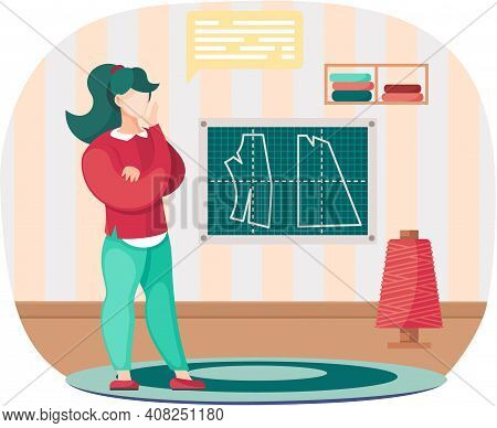 Fashion Designer Making Model Selects Spool Of Thread. Dressmaker Is Standing In Room And Looking At