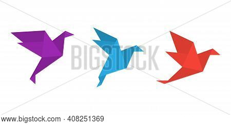 Origami Paper Birds In A Flat Style. Colorful Origami Birds Collection. Vector Illustration