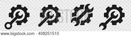 Mechanical Gear Icon With Wrench For Repair. Maintenance Icon Symbols Isolated In Transparent Backgr