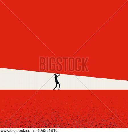 Businessman Under Pressure Vector Concept. Symbol Of Stress, Fear, Struggle In Career Or Business Si