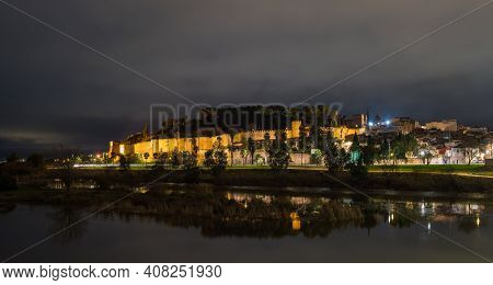 Night View Moorish Fortification, Called Arab Alcazaba, In Badajoz, Extremadura, Spain
