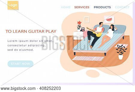 Web Site With Learn Guitar Playing. Couple Playing Musical Instrument. People Singing Together. Land