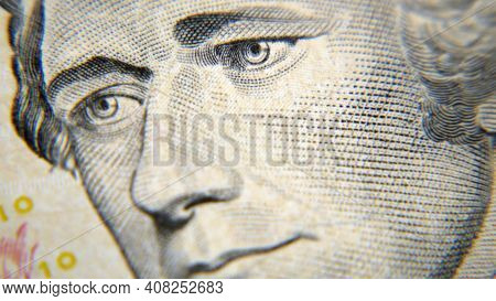 Ten Dollars Bill Fragment Macro, Closeup, Macro