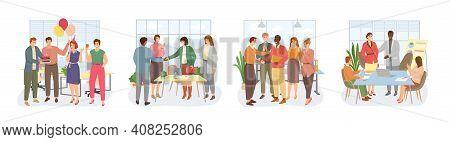 Diverse Team Congratulates Colleague. Congratulate Colleagues With Agreement People Celebrate Career