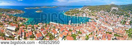 Town Of Hvar Aerial Panoramic View, Dalmatia Archipelago Of Croatia