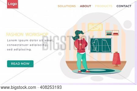 Fashion Workshop Landing Page Template Designer Making Model. Tailor Selects Material And Spool Of T