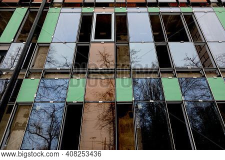 Construction Process, Glazing Of Facade Of A Residential Building, Hotel Or Other Commercial Propert