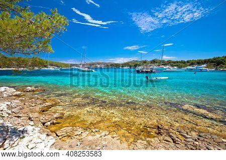 Adriatic Turquoise Beach And Sailing Cove On Pakleni Otoci Islands, Hvar Archipelago Of Croatia