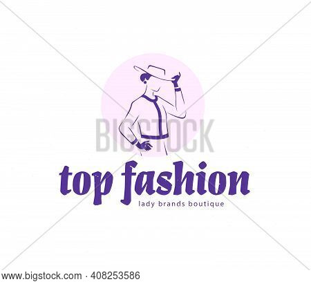 Lady Boutique Emblem Design Template Isolated On White Background. Stylish Lady In Suit, Hat And Glo