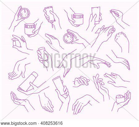 Collection Of Human Hands With Hand Cream And Moisturizer Tube, Can In Different Gestures, Posses Is
