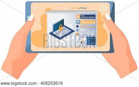 Data Security Access Concept. Padlock On Computer Monitor. Desktop Or Laptop Protect Sensitive Data.