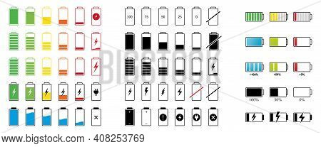 Set Of Capacity Battery Icons. Mobile Phone Charge Level Illustration Sign Collection In Flat Style.