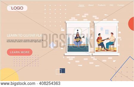 Learn To Guitar Play Landing Page Template With People Are Fond Of Music, Sing Songs Play Guitar. Ma