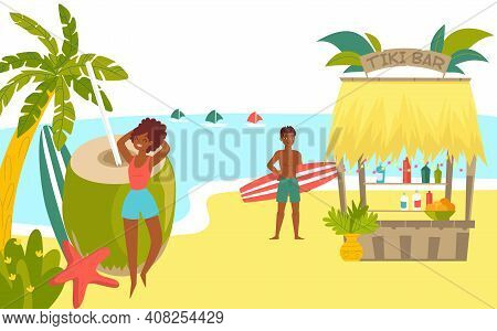 African Character Rest Tropical Beach, Surfing Sport Vacation, Woman Pose Coconut Man Hold Surfboard