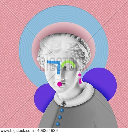 Fashion Art Collage With Plaster Antique Sculpture Of Venus Face In A Pop Art Style. Creative Vogue