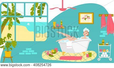 Relax Bathroom Care Skin, Woman Character Rest Modern Washroom Design, Female Shave Leg Cartoon Vect