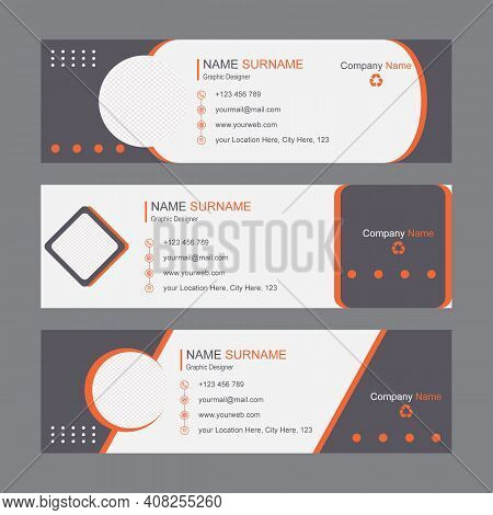 Email Signature Template Design And Personal Information Social Media Cover Premium Vector. Professi