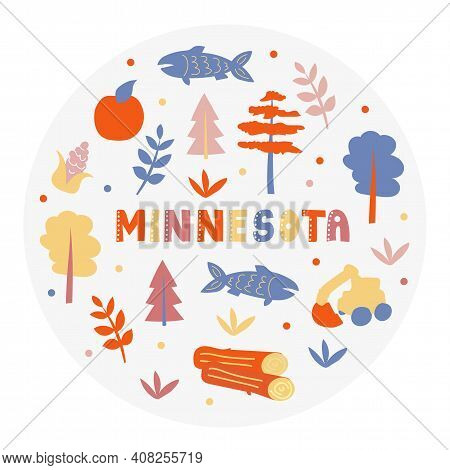 Usa Collection. Vector Illustration Of Minnesota Theme. State Symbols - Round Shape