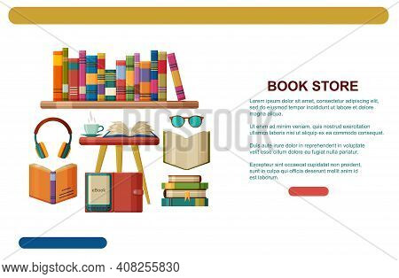Books And Reading, Modern Reading - Audio-digital And E-book. Book Store Web Banner Template Or Land