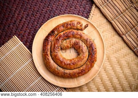 Northern Thai Sausage (sai Aua), Grilled Intestine Stuffed With Minced Pork, Spices And Herbs, Popul