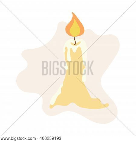 Burning Candle With Dripping Wax. Simple Flat Illustration. Stock Vector Illustration Isolated On Wh