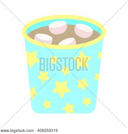 Mug With Cocoa And Marshmallows. Cute Cozy Blue Cup With Yellow Stars With Hot Warm Cocoa, Simple Ch