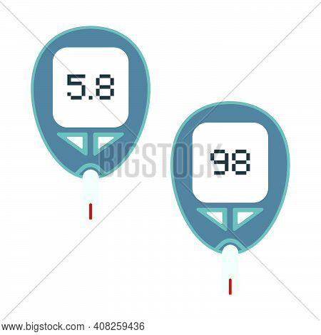 Vector Glucometer - An Electronic Device For Self-determination Of Blood Glucose Levels. Medical Tes