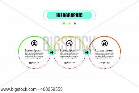Circle Timeline 3 Points Banner Elements And Numbers. Presentation Business Infographic Template Wit
