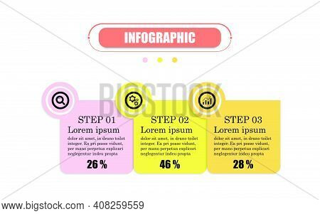 Circle 3 Points Square Banner Elements And Numbers. Presentation Business Infographic Template With