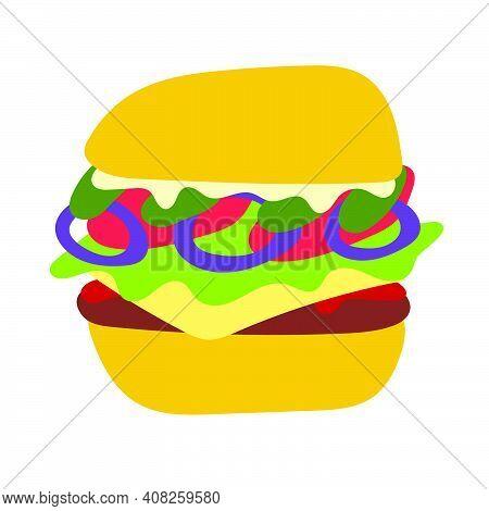 Flat Icon Style Hamburger Vector Illustration, Isolated On White Background. Juicy Tasty American Bu
