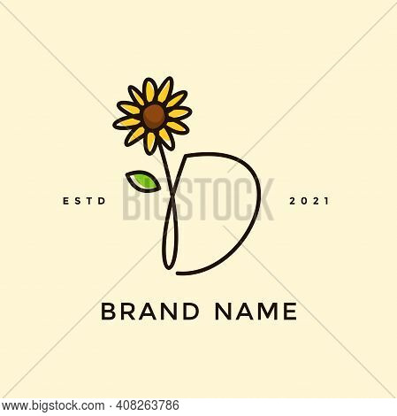 Beauty And Charming Simple Illustration Logo Design Initial D Combine With Sun Flower.