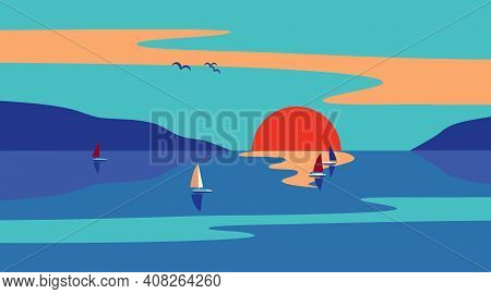 Seaside Sunset Minimalist Style Flat Color Vector. Sailing At Sunset Seascape Cartoon Design. Summer