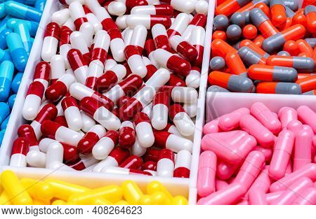 Capsule Pills In Plastic Tray. Pharmaceutical Industry. Drug Production. Pharmaceutics Concept. Vita