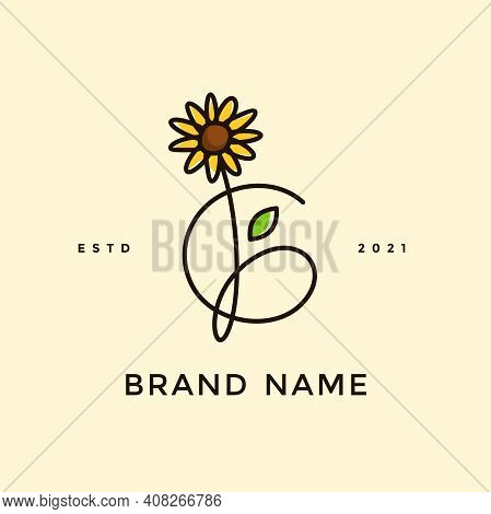 Beauty And Charming Simple Illustration Logo Design Initial G Combine With Sun Flower.