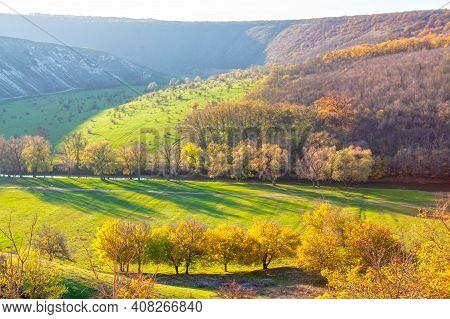 Awesome Autumn Nature . Landscape Of Natural Parkland In The Fall Season