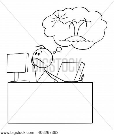 Bored Or Tired Office Worker Or Businessman Dreaming Or Thinking About Vacation,  Cartoon Stick Figu