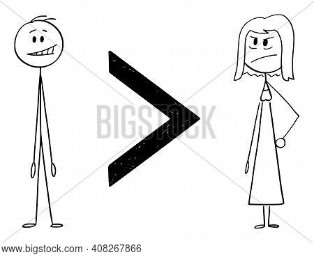 Man Is Greater Than Woman, Inequality Of Sexes,  Cartoon Stick Figure Or Character Illustration.